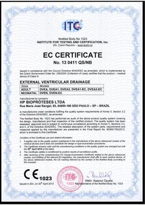 HpBio Certificado CE Derivacao Ventricular Externa