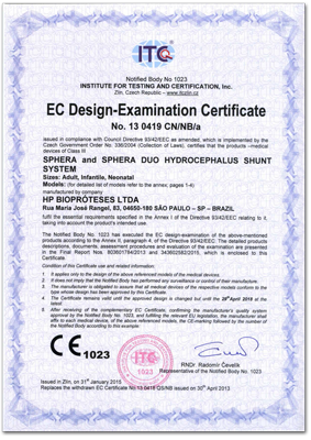 HpBio Certificado CE Derivacao Ventriculo Peritoneal