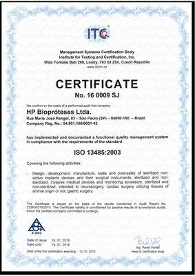 Certificado iso 13485 Hpbio