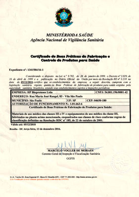 Certificado de Boas Práticas de fabricação Hpbio
